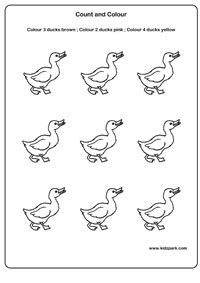 Ducks Count and Colour Worksheets,Downloadable Activity