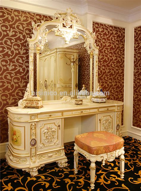 luxury rococo bedroom furniture dresser table mirror european style antique vanity