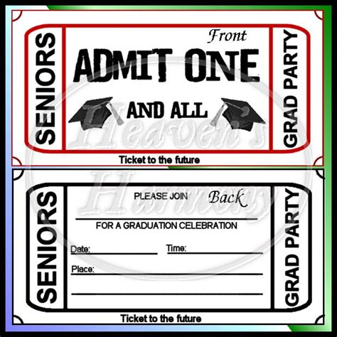 free printable graduation tickets graduation party ticket style invitation 0 63 heavens
