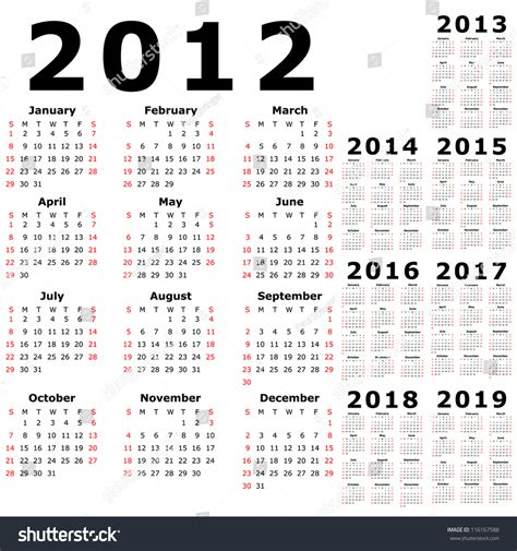 5 Year Calendar 2014 To 2018 Calendar For 2012 2013 2014 2015 2016 2017 2018