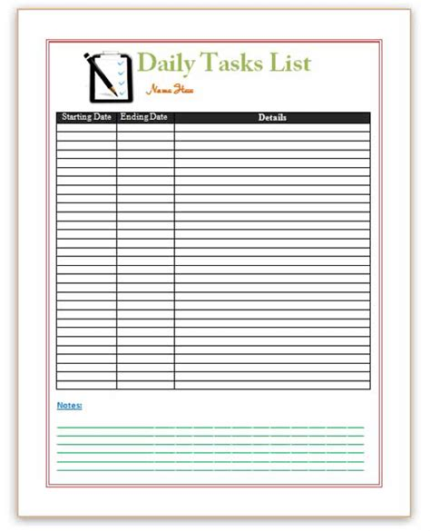 task list template daily task list template images frompo