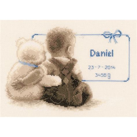 Birth Record Cross Stitch Teddy Cuddle Birth Record Cross Stitch Kit Cross Stitch Vervaco Pn 0021672