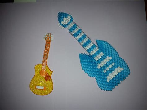 How To Make A Guitar With Paper - dollar origami guitar comot