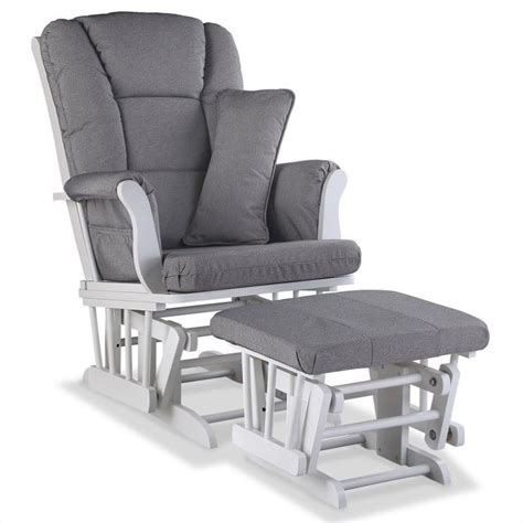 Custom Glider And Ottoman In White And Slate Gray 06554 551