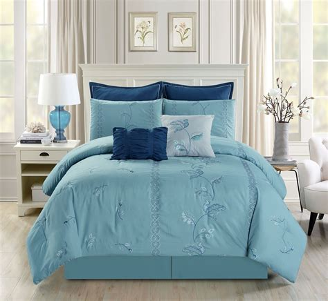 11 Piece Embroidered Floral Blue Bed In A Bag Set