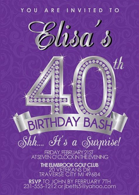 surprise 40th birthday invitation adult birthday invite