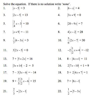 printable worksheets absolute value equations solving absolute value equations and inequalities