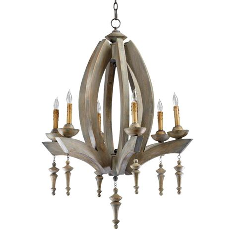 Manning French Country Oval Carved Wood 6 Light Chandelier Country Wooden Chandeliers