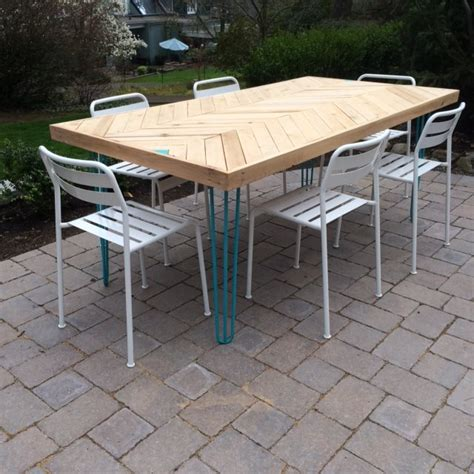 Patio Table Legs Using Hairpin Legs Outdoors Modern Legs