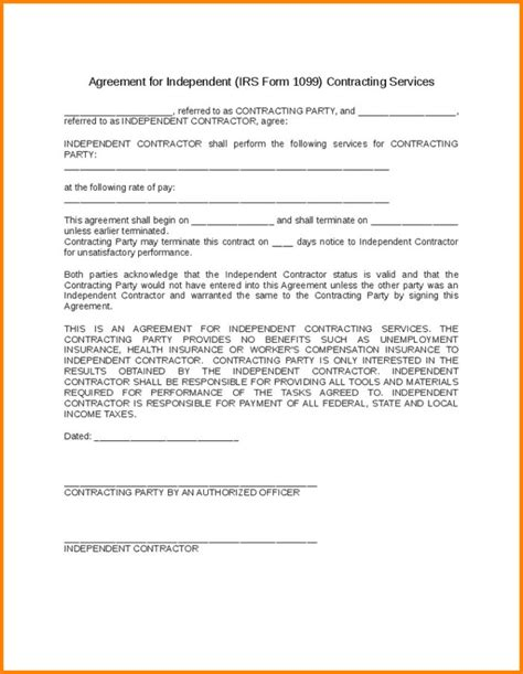 1099 contractor agreement template contractor agreement template free templates resume