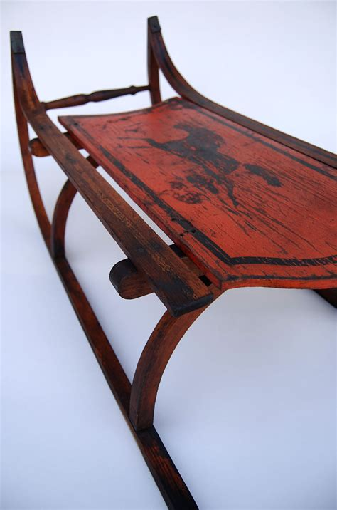 Vintage Bentwood Chairs by Antique American Painted Sled With Full Bodied Running