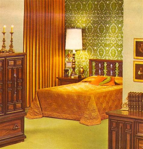 retro bedroom kitschy living 1970 1979 fashion green the seventies and colors