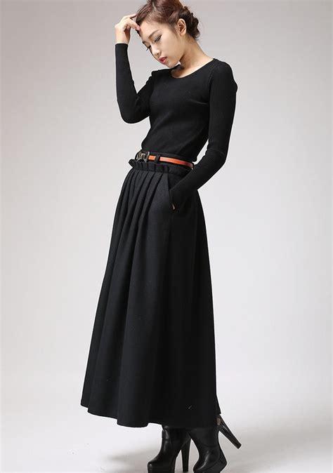 maxi skirtblack skirtwool skirtlong skirt pleated