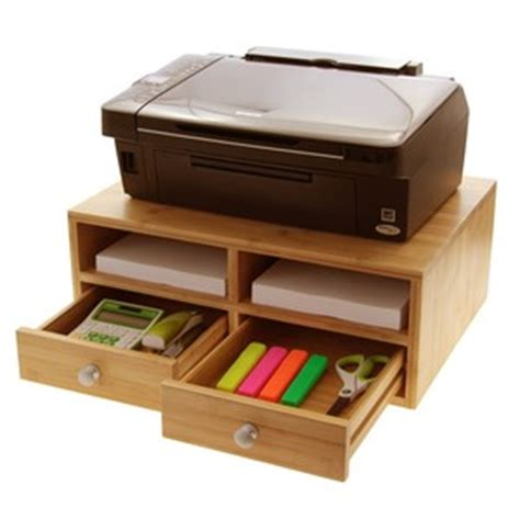 wooden desktop printer stand with drawers bamboo products