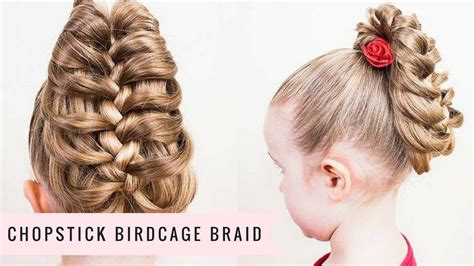 chopstick to platt hairstyle chopstick birdcage braid by sweethearts hair youtube