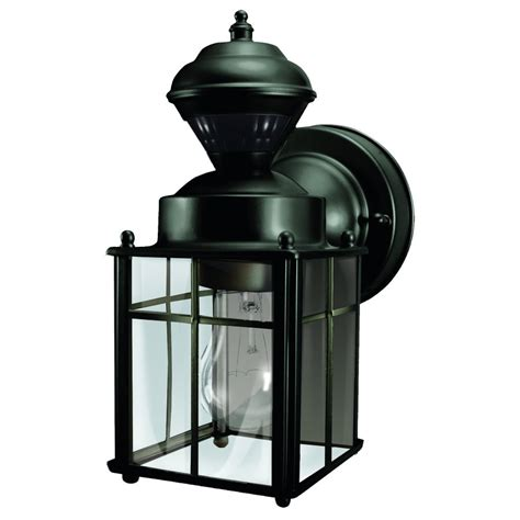 Heath Zenith Outdoor Lighting Heath Zenith 9 52 In H Matte Black Motion Activated Outdoor Wall Light Lowe S Canada