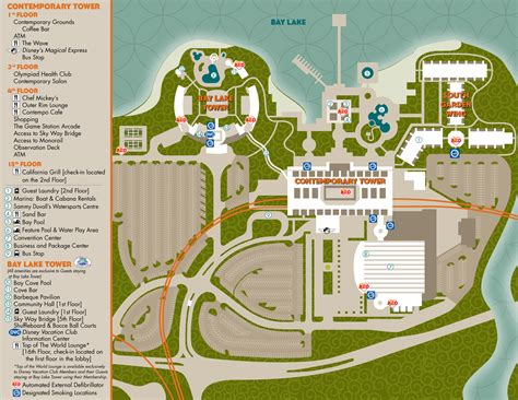 resort map disney s contemporary resort guide walt disney world