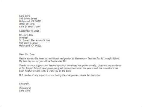 teacher resignation letter templates sample