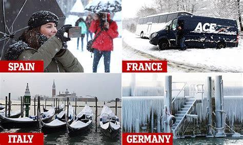 snow arrives  spain    killed  europe