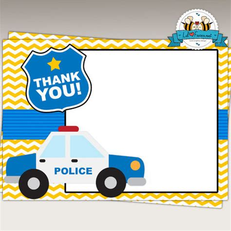 printable thank you card for police officer police birthday party printable thank you cards