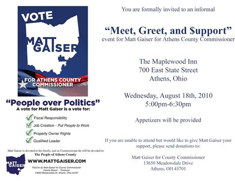 political fundraiser invitations meet greet  upport