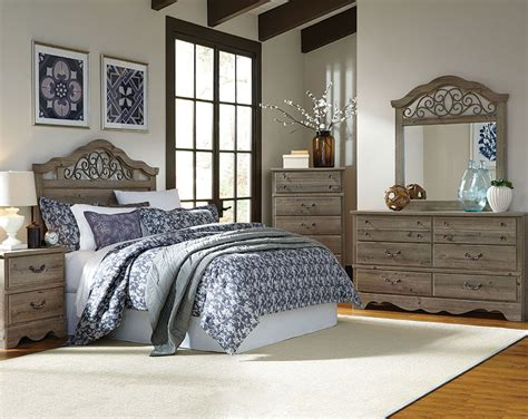 full bedroom furniture light brown set metal details timber creek full queen