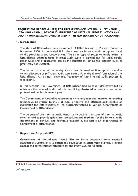 proposal format for internal audit services rfp internal audit manual