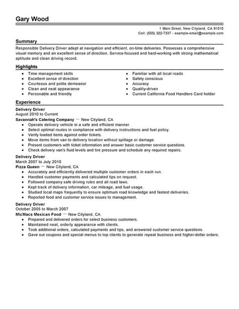 unforgettable delivery driver resume exles to stand out myperfectresume