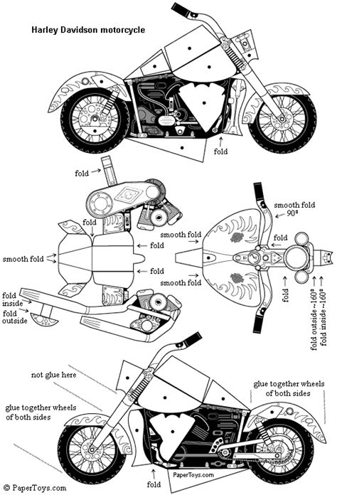How To Make A Bike Out Of Paper - harley davidson paper cutouts by papertoys