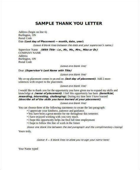 Thank You Letter Supervisor Sle Thank You Letter To 16 Free Documents In Word