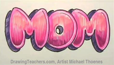draw mom  bubble letters