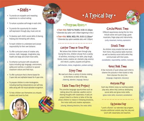 preschool brochure template valley christian preschool our brochure