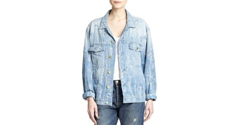 light blue distressed denim jacket madegold distressed denim jacket in blue light blue lyst
