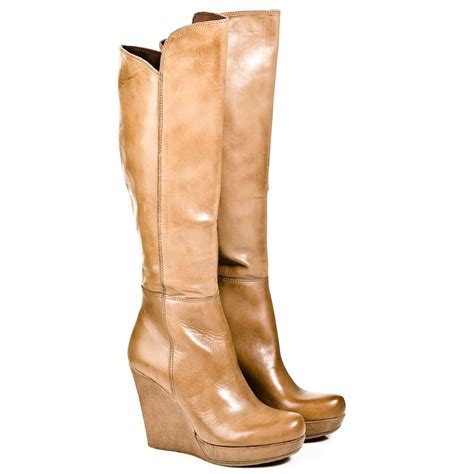 The Knee Wedge Boots daniel beige wisdom womens knee high wedge boot