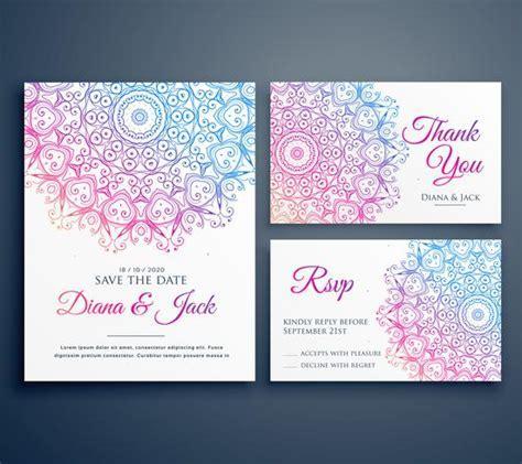 mandala style wedding invitation template with thank you