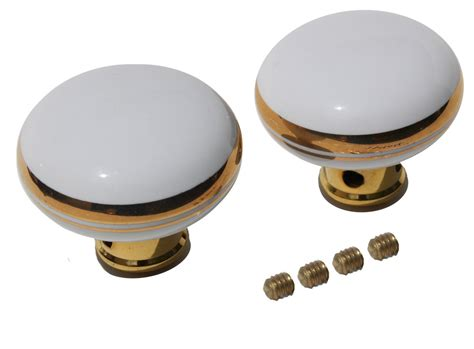 door knobs white gold porcelain knob pair