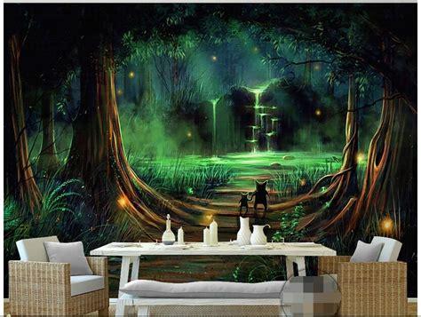 wallpaper custom photo  woven mural forest waterfall