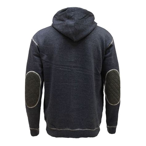 Mens Quilted Hoodie by Mens Quilted Cord Patch Hooded Zip Jumper Sweatshirt