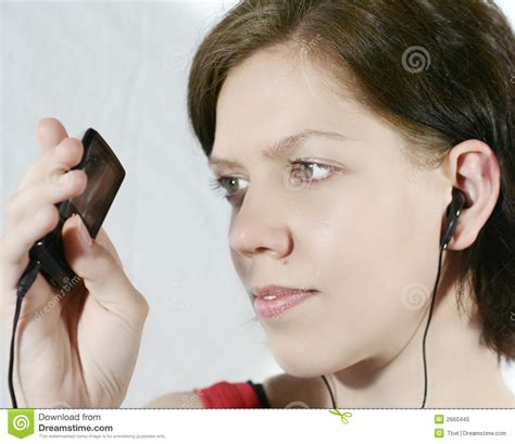 that girl mp girl with mp3 player royalty free stock photo image 2660445