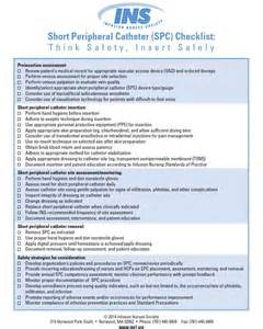 short peripheral catheter checklist infusion nurse blog
