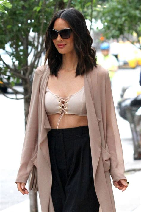 laced up ny lacedupn twitter olivia munn in lace up bralette out in new york city
