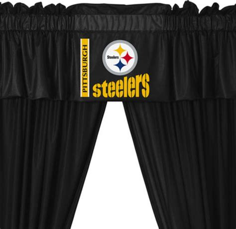 steelers curtain nfl pittsburgh steelers football 5 piece valance curtains