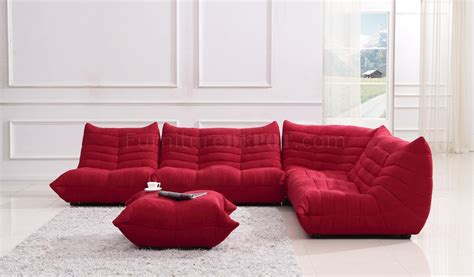 red modern sofa red fabric modern sectional sofa w ottoman