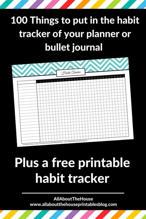 bullet journal habit tracker printable 100 things to put in your habit tracker of your planner or
