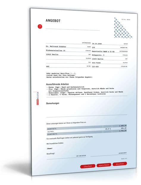 Angebot Muster Brief Angebot Malerbetrieb Pauschal Muster Zum