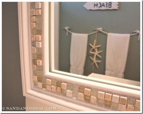 tile bathroom mirror frame how to decorate a mirror with tile sand and sisal