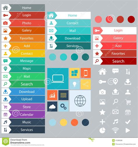 bid web flat web design elements buttons icons templates for
