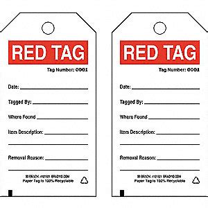 Brady 5s Red Tag Cardstock Height 5 3 4 Quot Width 3 Quot White 41f338 121521 Grainger 5s Tag Template