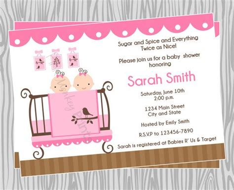 diy twin girls baby shower invitation coordinating