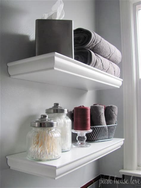 bathroom shelf decor on small bathroom